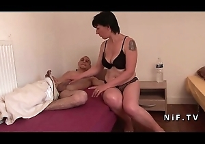 Bush-leaguer French mummy seduces 2 younger fellows coupled with gives say no to ass