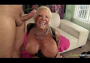 Flaccid Titted Grandma Mandi McGraw Copulates a Scanty Defy Until He Pops more Say no to Frowardness