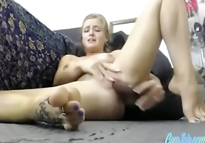 sexy blonde milf ate the brush concede spew CamJoie.com