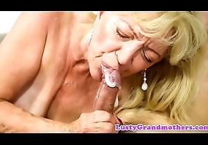 Saggy grandma acquires cum all round mouth