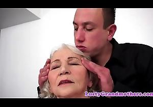 Tittyfucked grandma likes younger cock