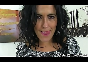 Spanish milf Montse Swinger fake penis copulates nyloned pussy