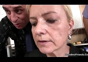 Emaciated kermis age-old grandma swallows four knobs
