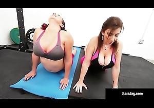 Sara Jay, Gia Love, &_ Angelina Castro Do Some Pansy Yoga!