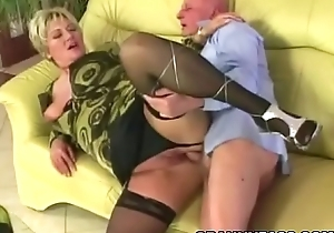 Big granny acquires pounded nigh stockings