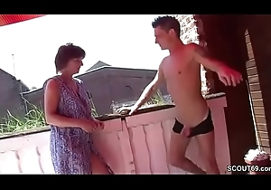 German Step-Mom Inveigle The brush Step-Son encircling drill the brush