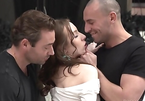 Cute beginner acquires drilled totally fast in MMF threesome