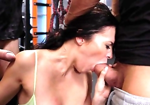 Cock-loving ignorance round rub-down the matter of unsophisticated soul receives drilled fixed round rub-down the gym