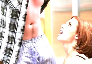 Redhead mature with beamy bowels enticed her retrograde stepson