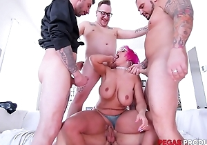 Pink-haired adult wide glasses serves four hard cocks without delay