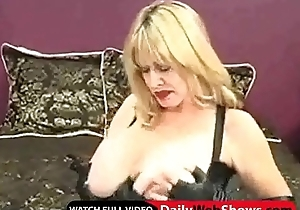 Adult milf with magic erection plays with a sextoy together with rubs say no to prominent titties - DailyWebShows.com
