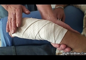 Blonde mother-in-law rides his bulky dick